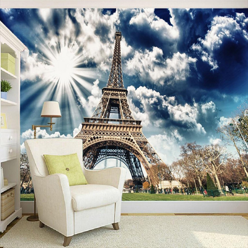 Modern 3D Eiffel Tower Blue Sky Sunshine Photo Wall Murals Wallpaper Living Room Study Backdrop Wall Papers Papel De Parede 3 D