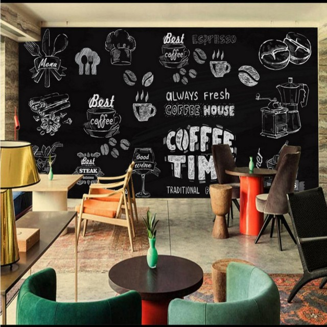 Custom photo wallpaper Handmade coffee dessert wallpaper restaurant ...