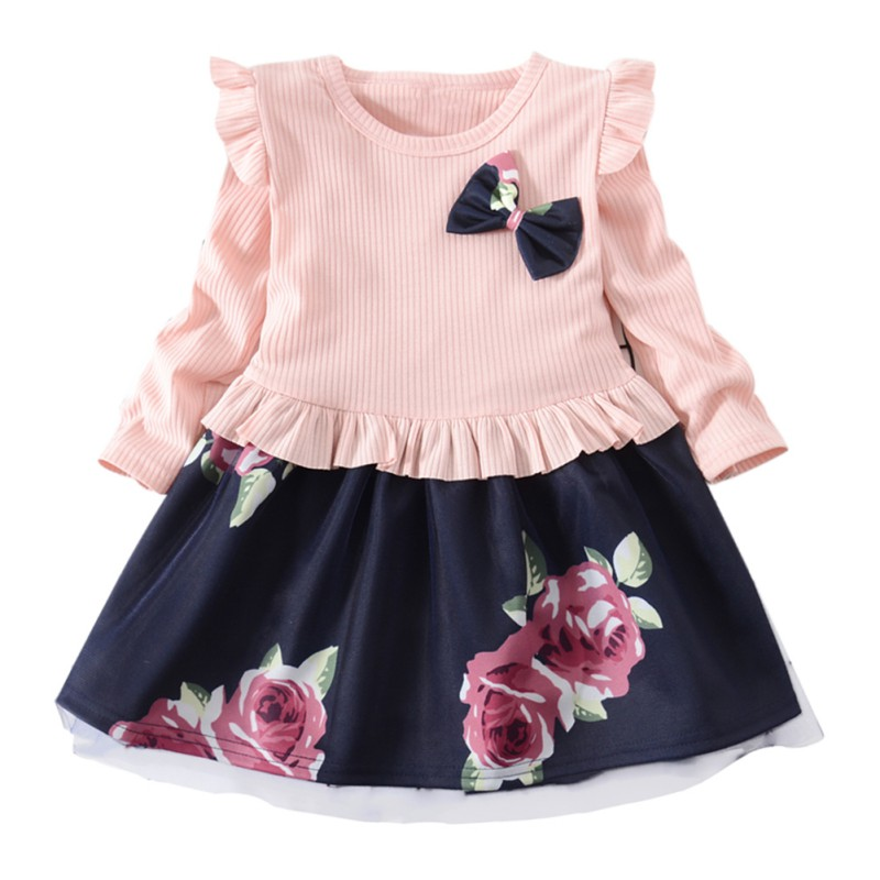 Printed Long Sleeve Girls Dress Autumn Fashion Mesh Print Kids Dresses For Girls 2018 Flower Stitched Princess Dress button up flower print dress
