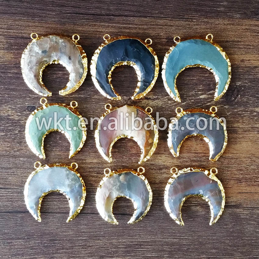 Holiday Sale Gold moon stone Pendant with gold dipped electroplated crescent stone horn pendant WT-P402