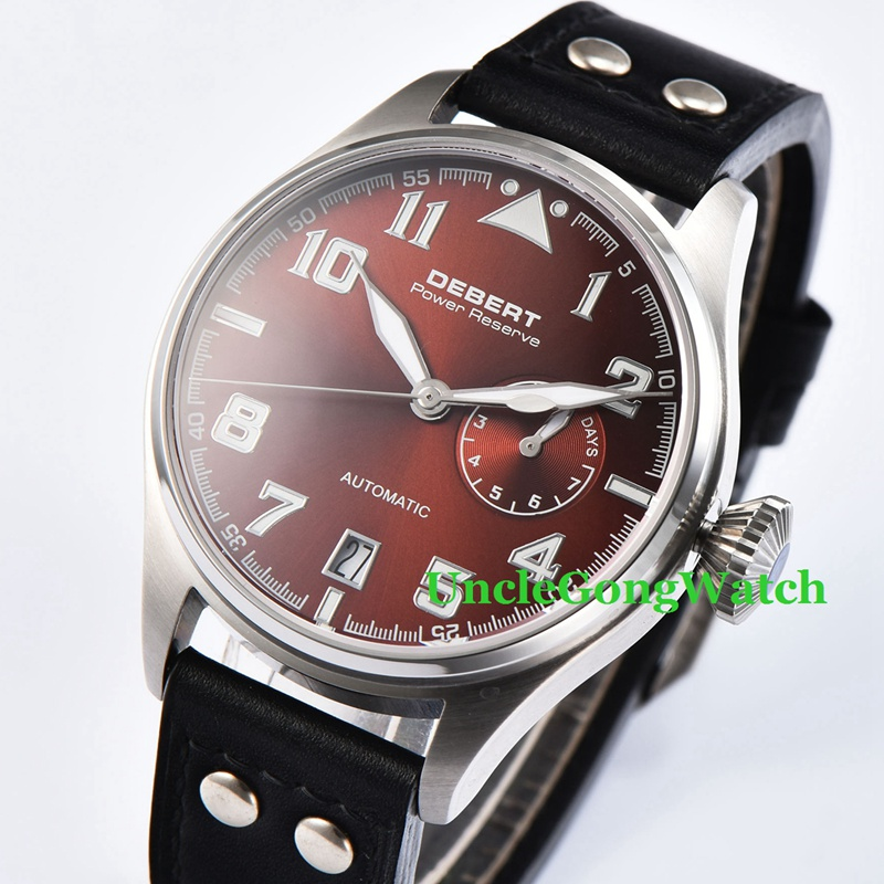 42mm DEBERT Coffee Dial Black Rivets Leather Strap Sapphire crystal Power Reserve date Mens Automatic Watch цена и фото