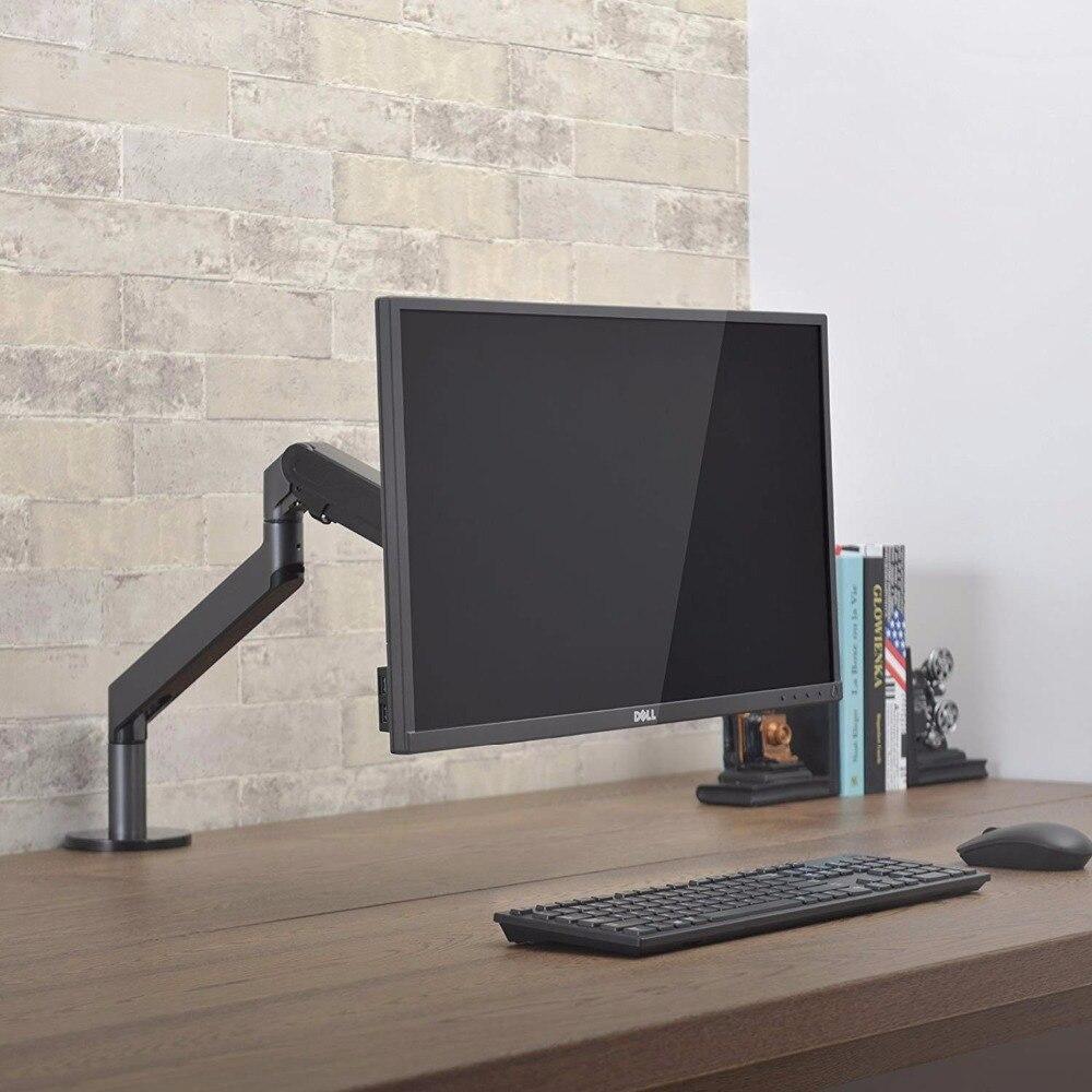 Support de moniteur support de bureau, hauteur réglable en aluminium bras unique ressort à gaz support TV s'adapte jusqu'à 32