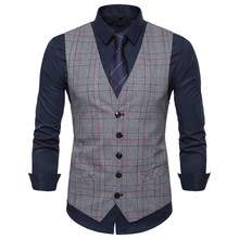 2019 new mens casual V-neck plaid vest European code single-breasted Slim large size business