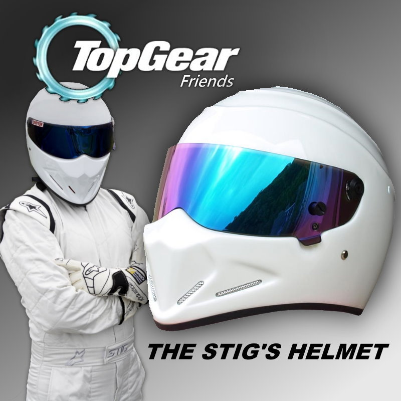 For Topgear The STIG Helmet / TG Fans's Collectable / Like as SIMPSON Pig / White Motorcycle Helmet with Colorful Visor Top Gear