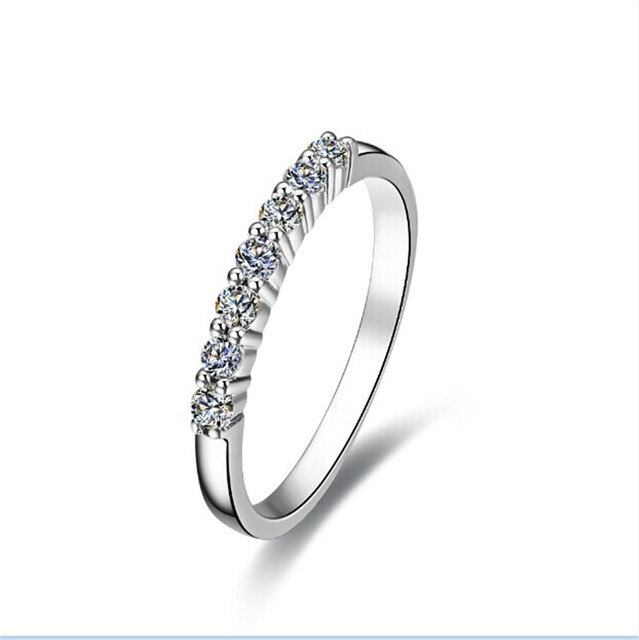 Lovely Simple Seven Stones Design Simulate Diamond Engagement Ring For Women Original Solid Sterling Silver Ring Never Fade