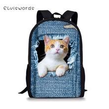 купить ELVISWORDS Cat Dog Backpack For Teenager Girls Boys Cute 3D Printing Kids Schoolbag Backpacks Casual Women Travel Rucksack дешево