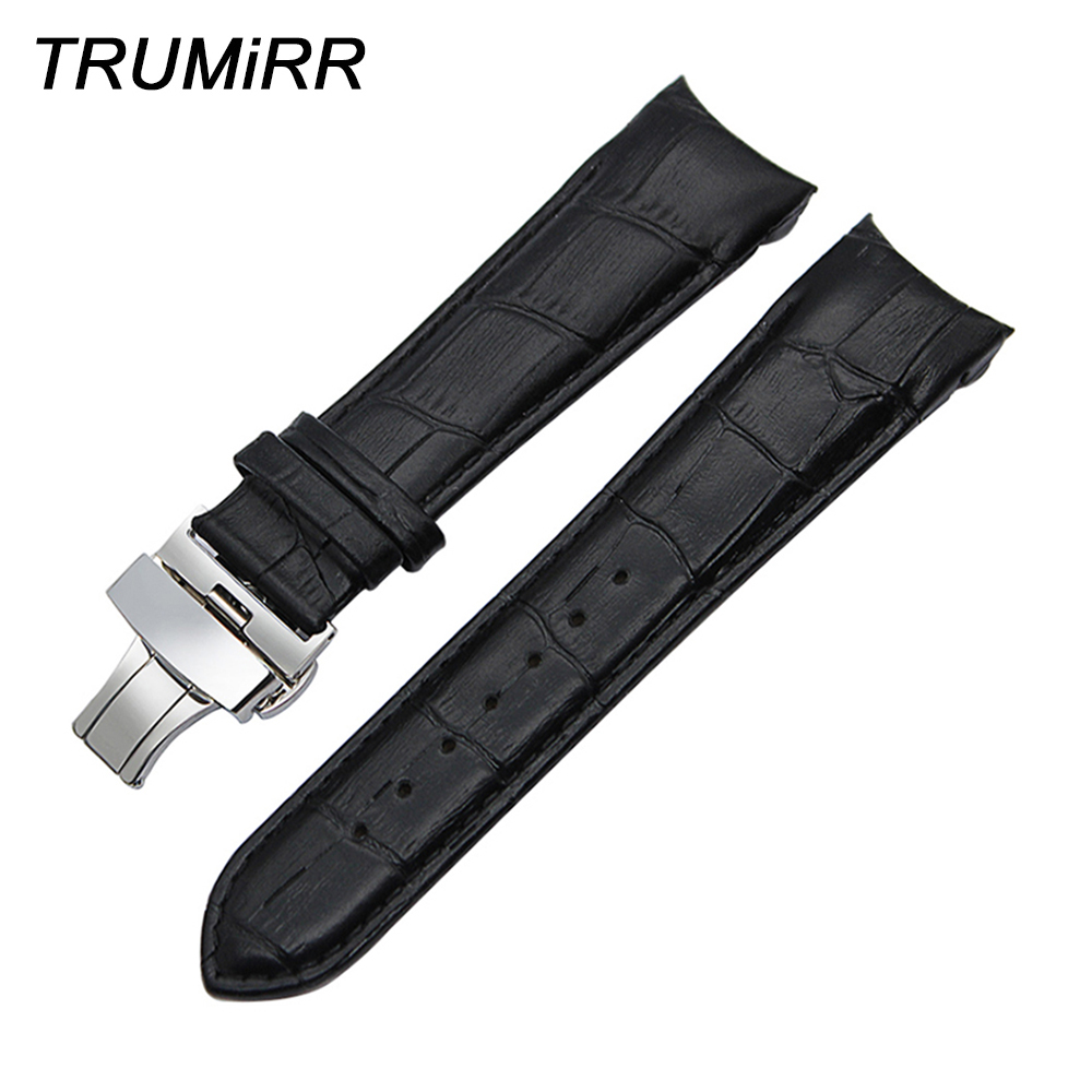 Curved Genuine Leather Watchband 22mm 23mm 24mm for Couturier T035 Watch Band Butterfly Clasp Strap Wrist Bracelet Black Brown 22mm 24mm black mens genuine leather watch strap band