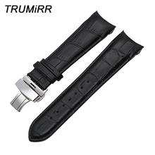 Curved Genuine Leather Watchband 22mm 23mm 24mm for Couturier T035 Watch Band Butterfly Clasp Strap Wrist Bracelet Black Brown