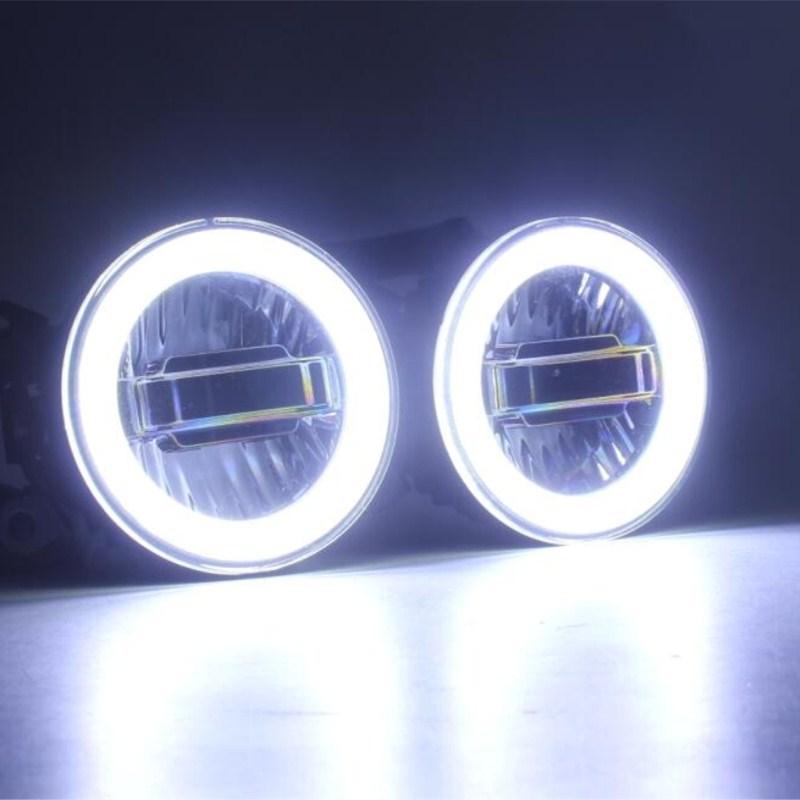 luckeasy 3в1 выделить ангельские глазки + светодиодные фары дневного света +светодиодные Противотуманные фары для Форд Фокус 2006 2010 2012 2016 ДХО