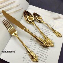 European palace gold art retro relief tableware 304 stainless steel knife fork spoon tableware sets