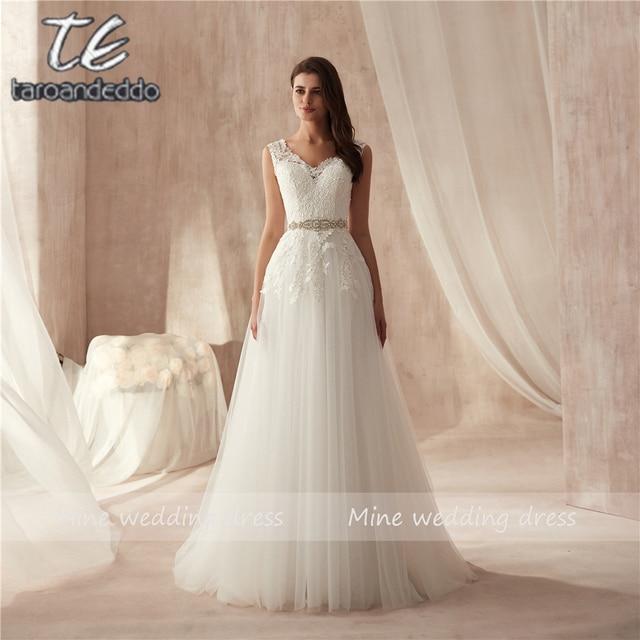 2019 Новое поступление v образный вырез высокое качество Свадебная Кружевная аппликация платье Бисероплетение Sash A Line Свадебные платья vestido de casamento