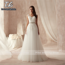 Vestido De novia De alta calidad con cuello en V, Aplique De encaje para boda, banda con cuentas, corte en A, novedad De 2021
