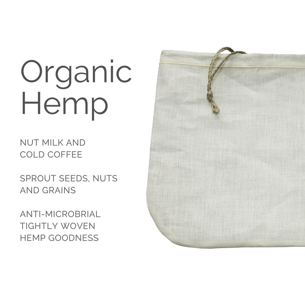 Nut Milk Filter Bag Food Grade Organic Cotton And Hemp Reusable Food Strainer For Yogurt Cheese Nut Milks Tea Coffee