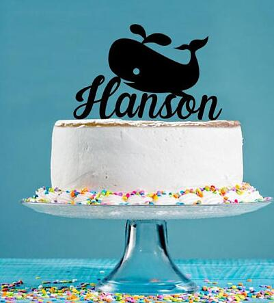 custom name Acrylic Whale under the sea Birthday Cake ...