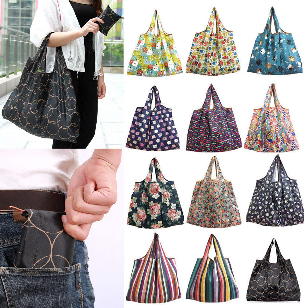 2019 New Lady Foldable Recycle Shopping Bag Eco Reusable Shopping Tote Bag Cartoon Floral Fruit Vegetable Grocery