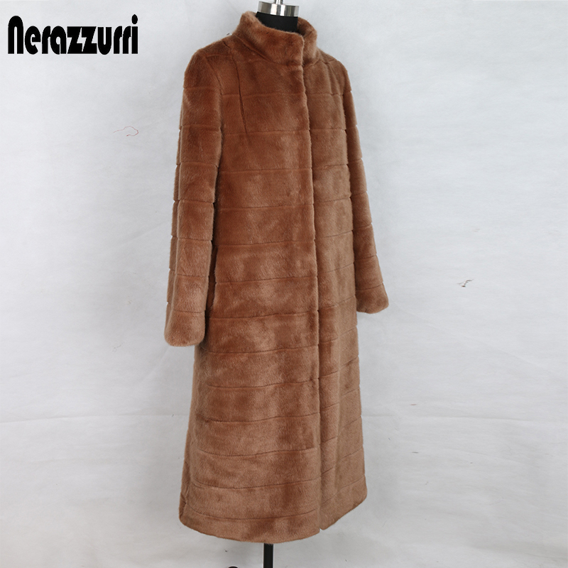 Nerazzurri High Quality Long Winter Faux Fur Coat Women Big Size Stand Collar Striped Plus Size Woman Clothes 5xl Ladies Coats