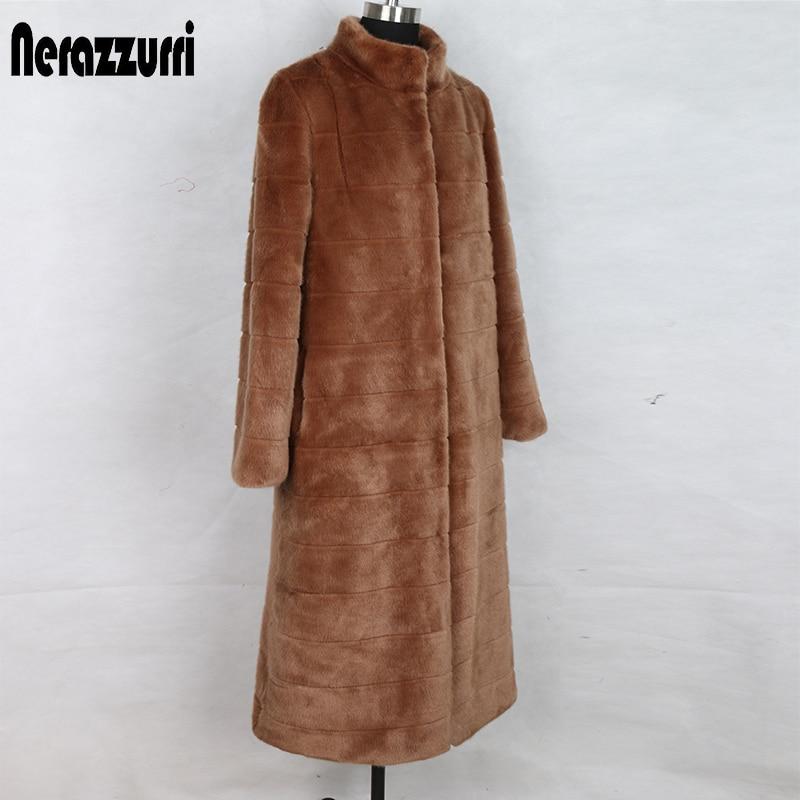 Nerazzurri High Quality Long Winter Faux Fur Coat Women Big Size Stand Collar Striped Plus Size Woman Clothes 5xl Ladies Coats