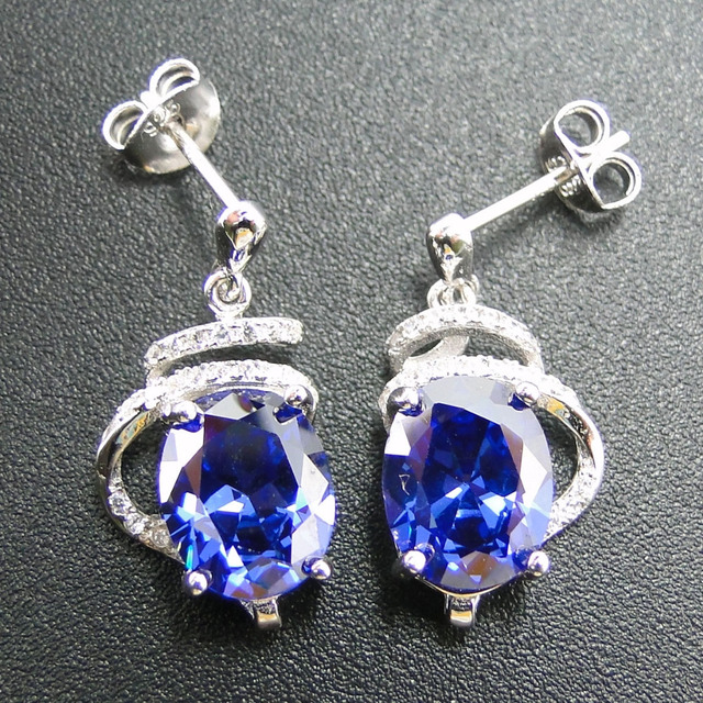 New Arrival 100 925 Sterling Silver Earring With Oval 10x8mm Tanzanite Stud Earrings For Women