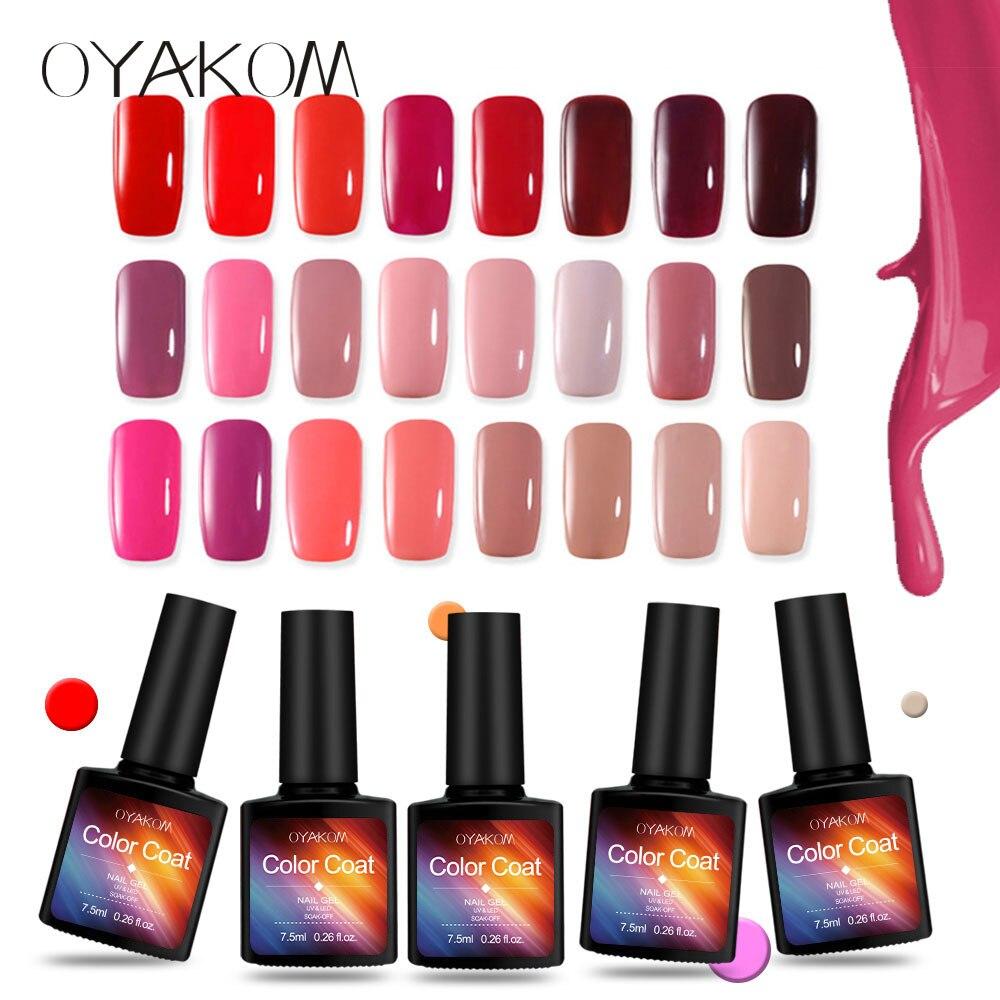 OYAKOM 7.5 ml Unha Polonês Gel Unhas de Molho off LED UV Híbrida Vernizes de Gel Unhas de Gel Primer Laca Rosa Vermelha sexy Cor Das Unhas Maquiagem