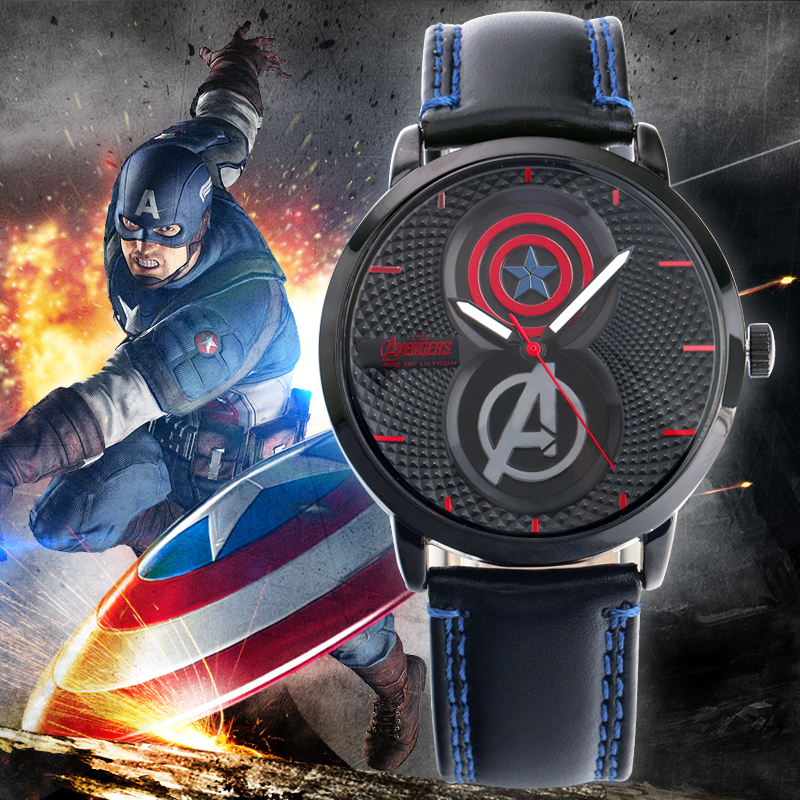 96fc34aca758 Disney reloj estudiante de Moda hombres iron man captain America The avengers  alliance ocio fresco de los hombres de los hombres reloj de cuarzo 100% ...
