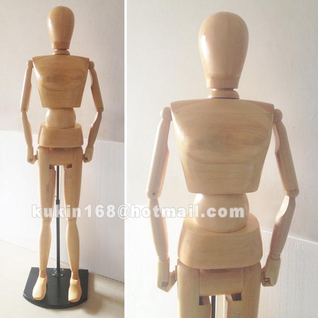 Wooden mannequin used for shop window display, Adjustable female mannequin