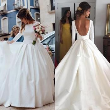 Vestido De Noiva Full Sleeves Wedding Dress Bridal Gowns gelinlik casamento Cheap Wedding Dresses Long Backless robe de mariee