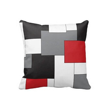 Colorblock Rojo Gris Negro Almohadas Decorativas para el Sofá de Lujo Lados Dobles de Impresión almofadasho Cierre de Cremallera Oculta