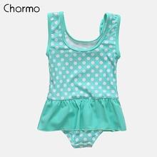 Charmo Baby Girls One Piece Swimsuits Polka Dot Swimwear Ruffle Kids Bow-Knot Cute Bikini Beach Wear Carton One-Piece