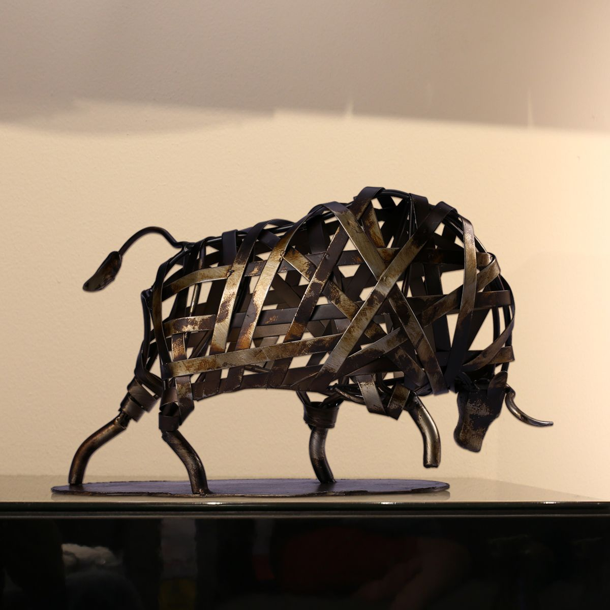 2019 New TOOARTS Metal Sculpture Iron Braided Cattle Home Furnishing Articles Handmade Crafts