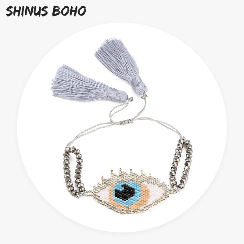SHINUSBOHO Hand-woven 55*30 mm Devil's Eye Tassel Charm Bracelet Women Big Eye Miyuki Beads Pulsera Men Adjustable Two Layers
