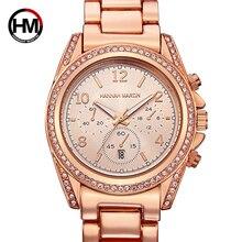 Women Rose Gold Top Luxury Brand Diamond Rhinestones Dress Ladies Wrist Watches Calendar Waterproof Fashion Casual Wristwatch