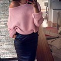 2017 Mujeres Suéter Para Mujer Suaves blusas Pullover Hombro Chunky de Punto Oversize Baggy Sweater Pullover Señoras Jumper Tops