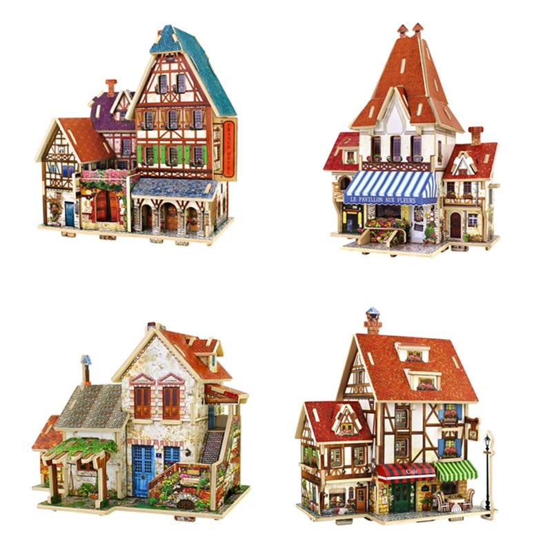 ⊰Envío libre 3D rompecabezas de madera DIY modelo niños juguete ...