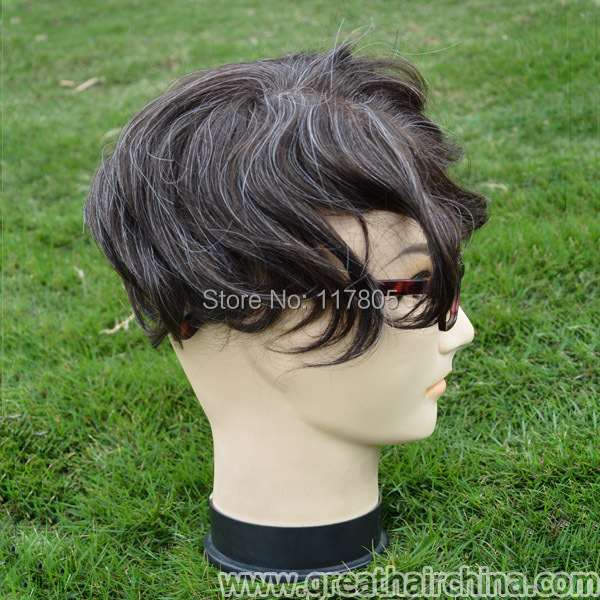 Custom Toupees Natural Hair Mixed Grey Color