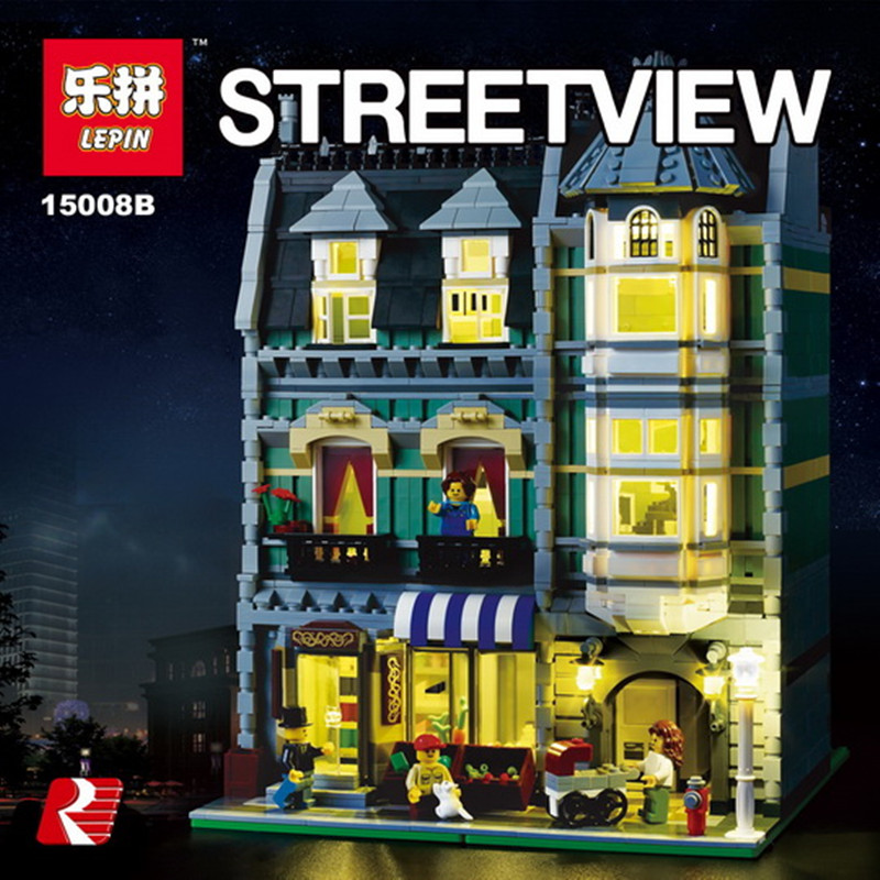 Lepin 15008 15008B with 1ight 52462Pcs City Street Green Grocer Model Building Kits Blocks Bricks Educational toys 10185 hot sale lepin 15008 2462pcs city street green grocer model building kits blocks bricks compatible educational toys for kids