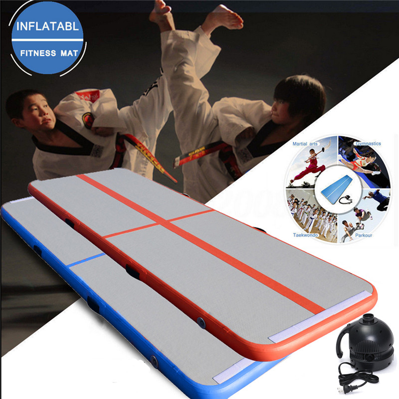 Inflatable GYM Floor Air Tumbling Track Gymnastics Practice Training Mat + Pump 8m gymnastics air track fitness exercise gym air tumbling mat training inflatable track floor home gymnastic high quality