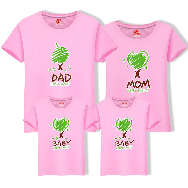 3d304aed42ec4 US $9.22 5% OFF|Family Matching Outfit Summer Short Sleeve T Shirt Top  Clothes Cotton Mother Father Son daughter Dresses DAD MOM Tree LD10082-in  ...