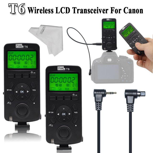 INSEESI LCD FSK 2.4GHz Transceiver Pixel T6 Wireless Timer Remote Control For Canon with N3/E3 Cable For Canon EOS VS TW-283