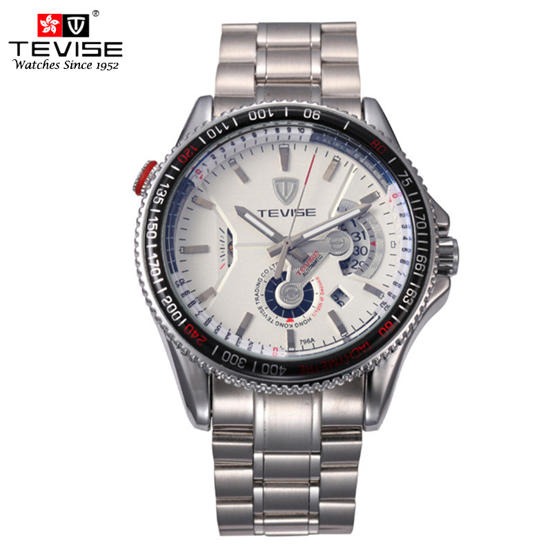 TEVISE Mens Automatic Self Wind Mechanical Watches Man Silver Stainless Steel Auto Date Watch Fashion Luminous Wristwatch 796A tevise fashion casual men automatic watch silver stainless steel auto date mechanical self wind original brand wristwatch 8377g