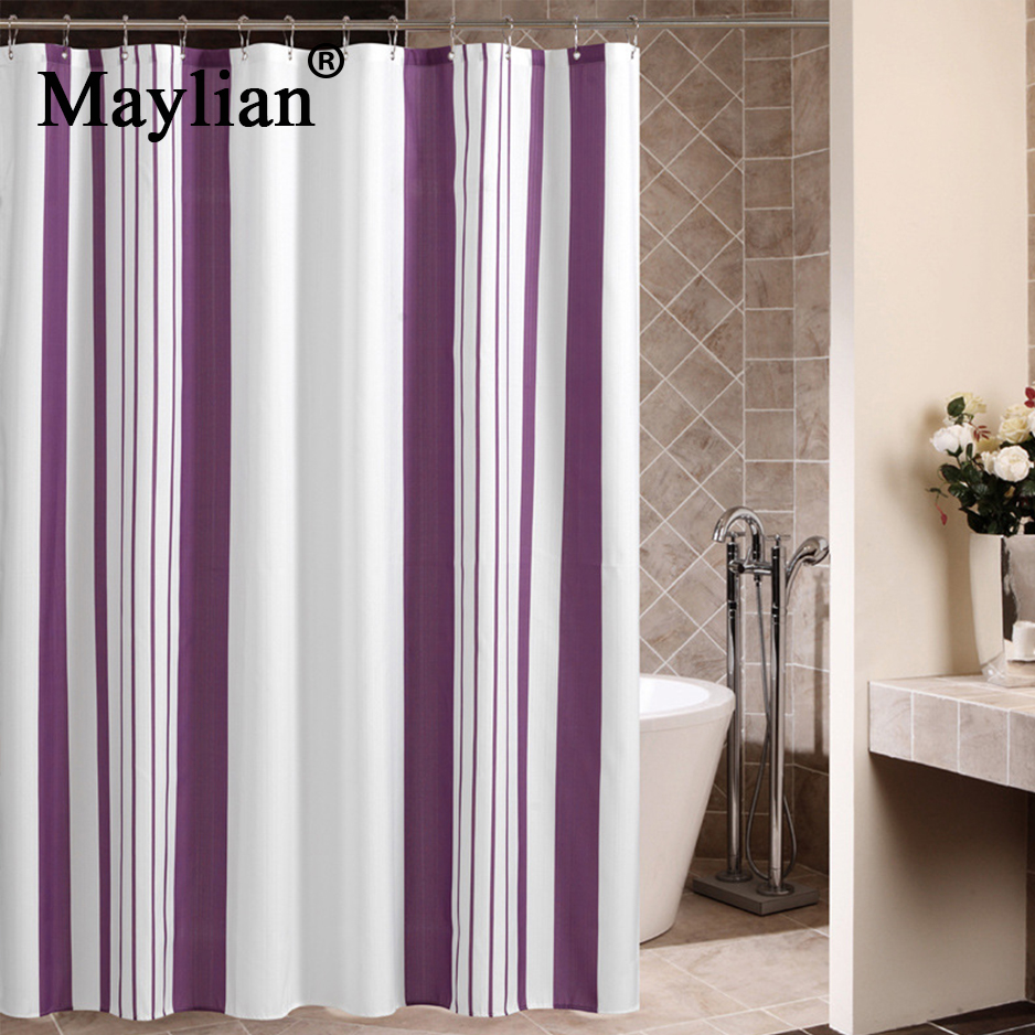 Bathroom Shower Curtains Home White Purple Vertical Bar Eco Friendly Waterproof Moldproof 180180 Hooks Maylian Hsg067 In From