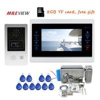 Free Ship 720P AHD 7 Touch Screen Video Door Phone Intercom Unlock Record Motion Detection RFID