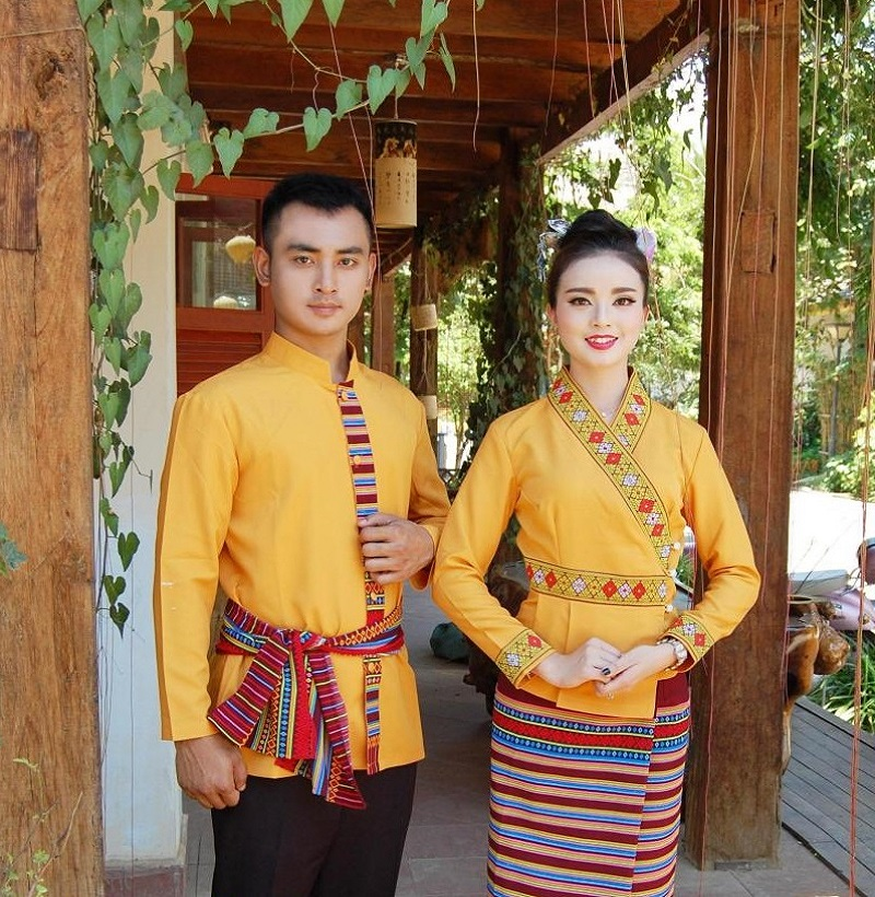 South East Asia Thailand Laos YunNan Hotel uniform Orange yellow long sleeve Top skirt collocation suits men women Special wear 34