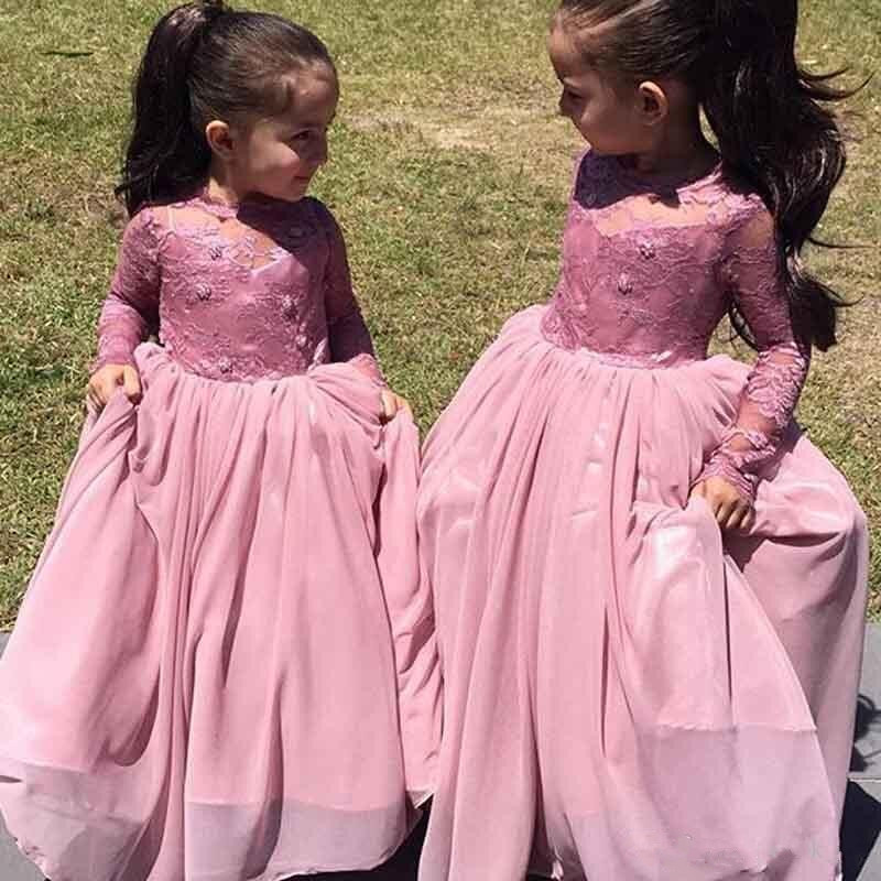 Pink Long Sleeves Girls Pageant Gown Lace Applique Sheer Neck Flower Girls Dresses For Weddings Custom Any Size pink knitting ripped details v neck long sleeves sweaters