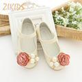 Mosaic Flowers Decoration Beaded Girls Shoes for Wedding Solid Princess Flower Girl Shoes Ankle-Wraps Hook & Loop Kids Shoes
