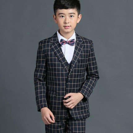 (Jackets+Vest+Pants+Tie+Shirt) Boy Suits Flower girl Slim Fit Tuxedo Brand Fashion Bridegroon Dress Wedding Lattice Suits Blazer