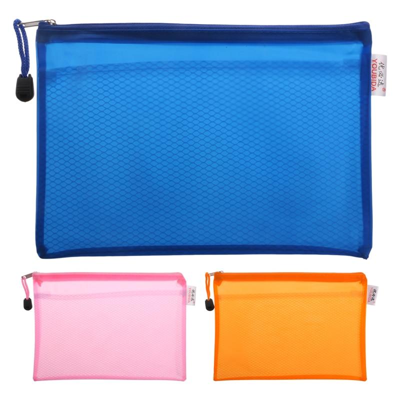 A5 Matte Gridding Waterproof Zip Bag Document Pen Filing Products Pocket Folder Office & School Supplies