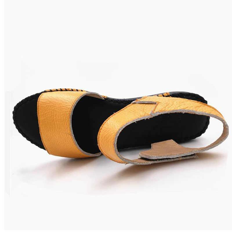 YAERNI Kadın sandalet hakiki deri el yapımı sandalet kadın yaz ayakkabı yumuşak ve Rahat düz topuk mather sandalet