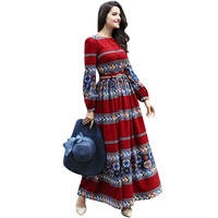Vintage Dress Spring Summer New Famous Casual Long Sleeve Party Clothing Chiffon Printed Luxury Maxi Dress Slim Waist 5972