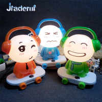 Jiaderui Cute Q Version Music Skateboard Boy Table Lamp For Room Decor Night Light Fashion Creative