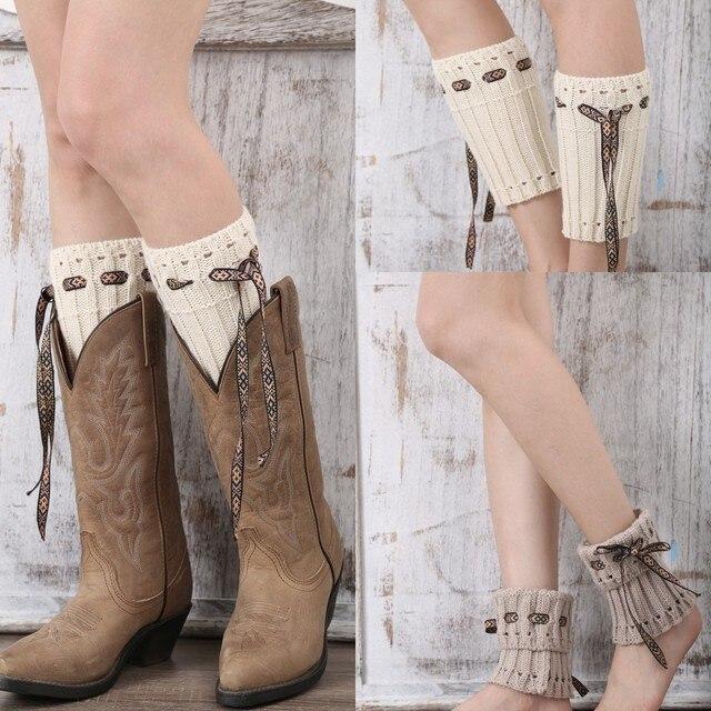 5248e9872f Knitted Leg Warmers for Women Crochet Lace Rope Boot Cuffs Ivory Leg Warmer  Woman Boho Boots